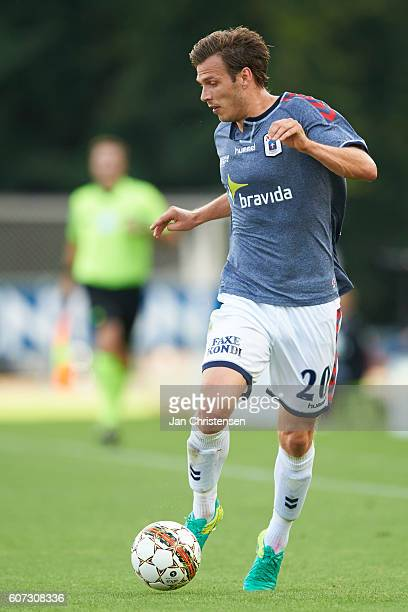Elmar Bjarnason of AGF Arhus controls the ball during the Danish Alka Superliga match between Silkeborg IF and AGF Arhus at Mascot Park on September...
