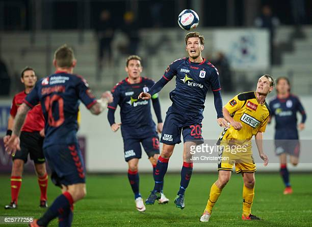 Elmar Bjarnason of AGF Arhus heading the ball during the Danish Alka Superliga match between AC Horsens and AGF Arhus at Casa Arena Horsens on...