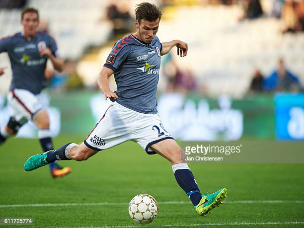 Elmar Bjarnason of AGF Arhus in action during the Danish Alka Superliga match between OB Odense and AGF Arhus at TREFOR Park on September 30 2016 in...