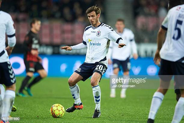 Elmar Bjarnason of AGF Arhus in action during the Danish Alka Superliga match between FC Midtjylland and AGF Arhus at MCH Arena on December 04 2016...