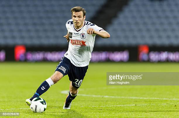Elmar Bjarnason of AGF controls the ball during the Danish Alka Superliga match between AGF Aarhus and OB Odense at Ceres Park on May 26 2016 in...