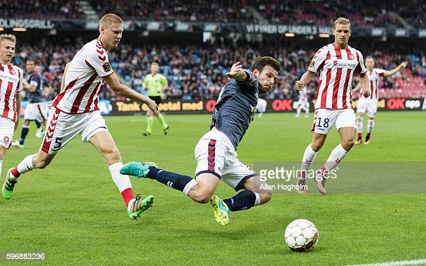 Elmar Bjarnason of AGF in action during the Danish Alka Superliga match between AaB Aalborg and AGF Aarhus at Nordjyske Arena on August 28 2016 in...
