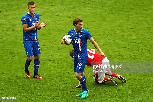 Elmar Bjarnason of Iceland in action during the UEFA EURO 2016 Group F match between Iceland and Austria at Stade de France on June 22 2016 in Paris...