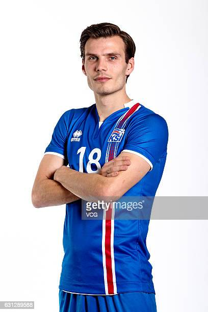 Elmar Bjarnason of Iceland poses during the team presentation ahead of the 2017 Gree China Cup International Football Championship on January 8 2017...