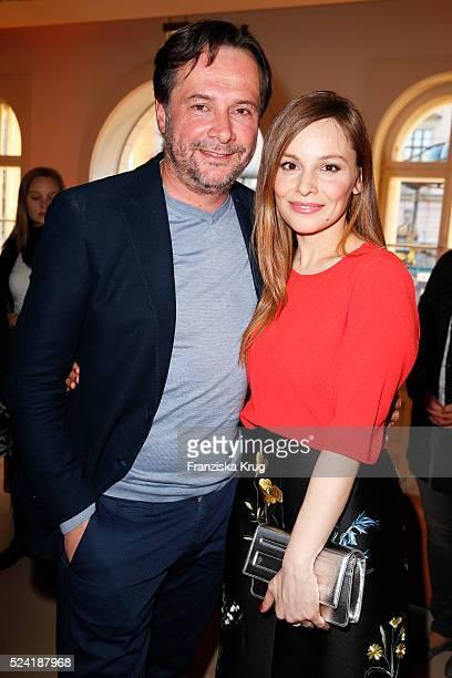 Elmar Fischer and Mina Tander attend the Premiere for the film 'Die Diplomatin' at BertelsmannRepraesentanz on April 25 2016 in Berlin Germany