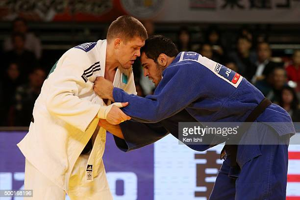 Elmar Gasimov of Azerbaijan and Maxim Rakov of Kazakhstan compete in the Men's 100kg bronze medal match at Tokyo Metropolitan Gymnasium on December 6...