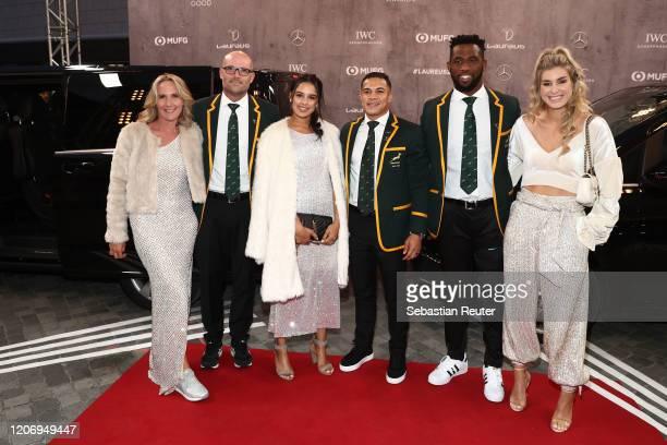 Elmarie Nienaber Jacques Nienaber Layla Cupido Cheslin Kolbe Siya Kolisi and Rachel Smith attend the 2020 Laureus World Sports Awards at Verti Music...