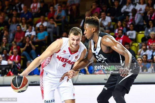 Elmedin Kikanovic of Monaco and Alpha Kaba of Asvel during the Pro A match between Monaco and Lyon Villeurbanne on October 8 2017 in Monaco Monaco
