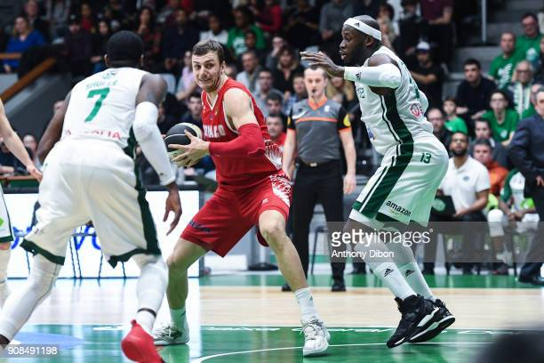 Elmedin Kikanovic of Monaco and Johan Passave Ducteil of Nanterre during the Pro A match between Nanterre 92 and Monaco on January 21 2018 in...