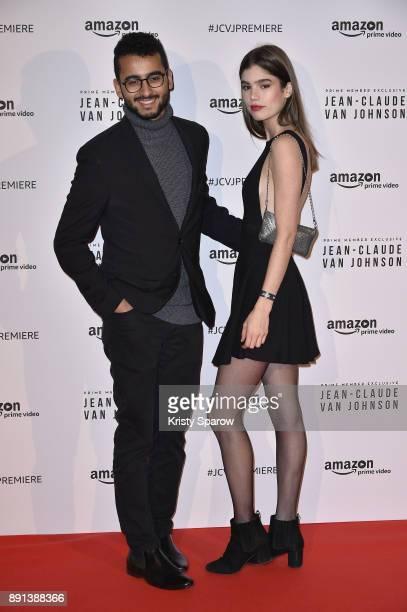 Elmehdi Almaziane and model Helena Sofia attends the Amazon TV series 'Jean Claude Van Johnson' Premiere at Le Grand Rex on December 12 2017 in Paris...