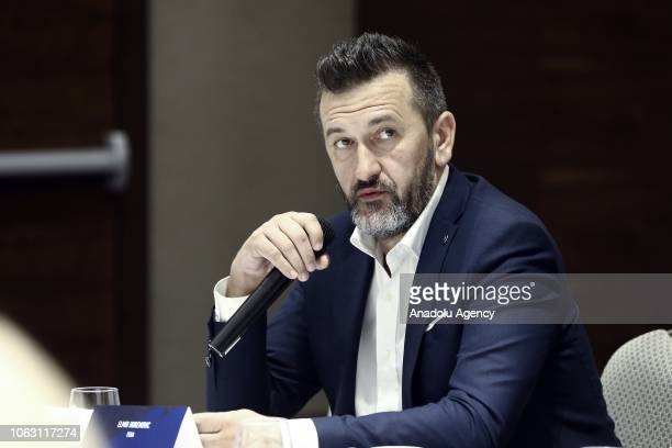 Elmir Huremovic the general manager of Bosnia's Federal News Agencys makes a speech during the 27th Association of the Balkan News Agencies Southeast...