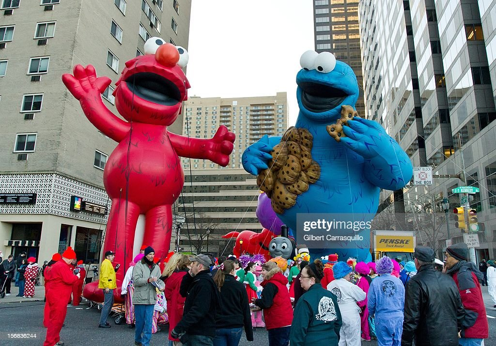 Elmo and the Cookie Monster Ballons at the 93rd annual Dunkin' Donuts Thanksgiving Day Parade on November 22, 2012 in Philadelphia, Pennsylvania.