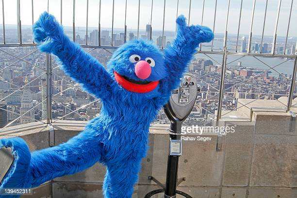 Elmo, Cookie Monster, Abby Cadabby and Grover visit The Empire State Building on February 21, 2012 in New York City.