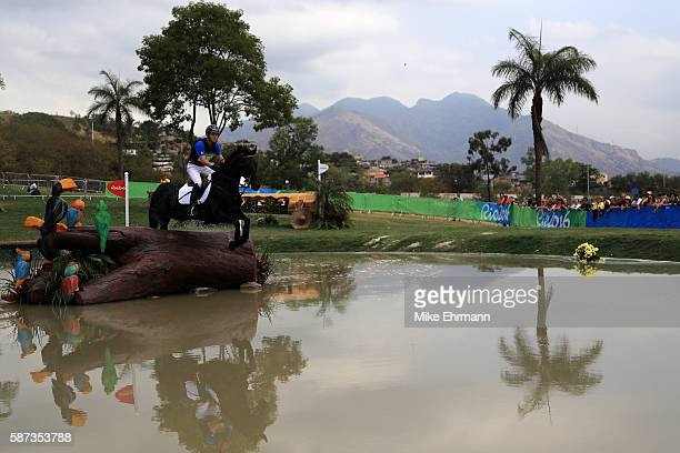 Elmo Jankari of Finland riding Duchess Desiree clears a jump during the Cross Country Eventing on Day 3 of the Rio 2016 Olympic Games at the Olympic...