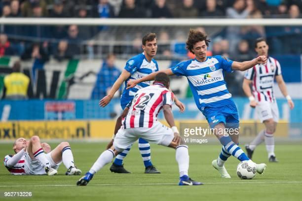 Elmo Lieftink of Willem II Erik Bakker of PEC Zwolle Eyong Enoh of Willem II Phillipe Sandler of PEC Zwolle during the Dutch Eredivisie match between...