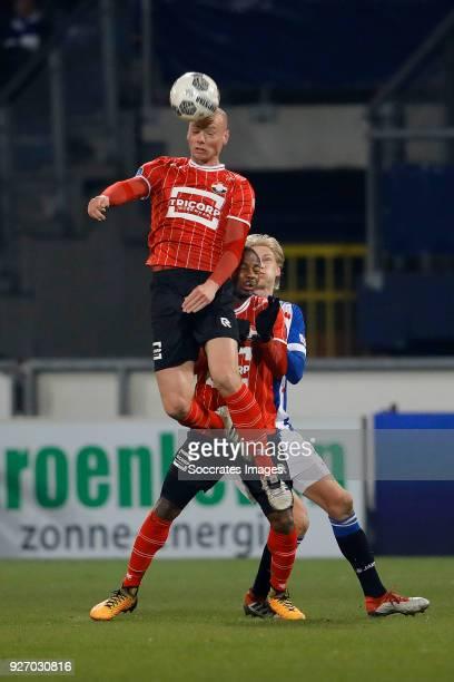 Elmo Lieftink of Willem II Eyong Enoh van Willem II Morten Thorsby of SC Heerenveen during the Dutch Eredivisie match between SC Heerenveen v Willem...
