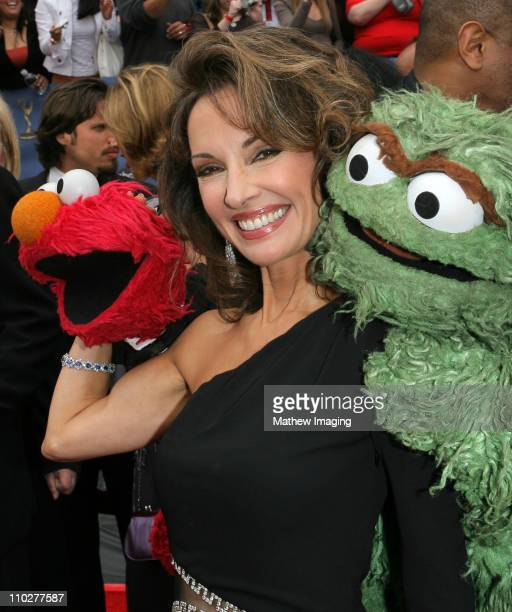 Elmo Susan Lucci and Oscar the Grouch during 33rd Annual Daytime Emmy Awards Arrivals at Kodak Theater in Hollywood California United States