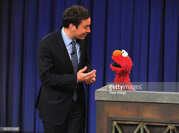 Elmo visits Late Night With Jimmy Fallon at Rockefeller Center on September 19 2012 in New York City