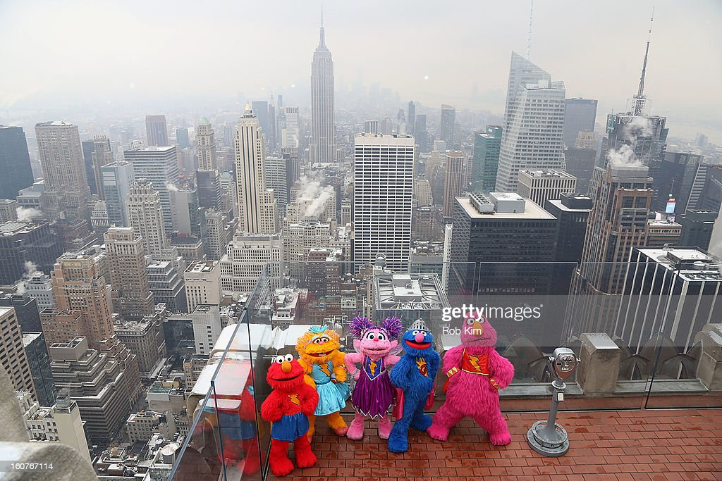 Elmo, Zoe, Abby Cadabby, Super Grover and Telly visit the Top of the Rock Observation Deck at Rockefeller Center on February 5, 2013 in New York City.
