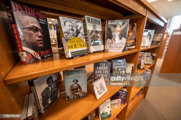 Black history month display of books at the Elmont Memorial Library in Elmont, New York, on January 29, 2021.