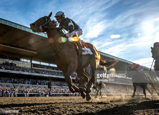 Sir Winston ridden by jockey Joel Rosario wins the 151st Belmont Stakes at Belmont Park in Elmont New York on June 8 2019 It was his first victory of...