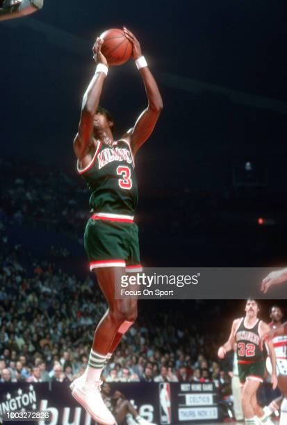 Elmore Smith of the Milwaukee Bucks grabs a rebound against the Washington Bullets during an NBA basketball game circa 1975 at the Capital Centre in...
