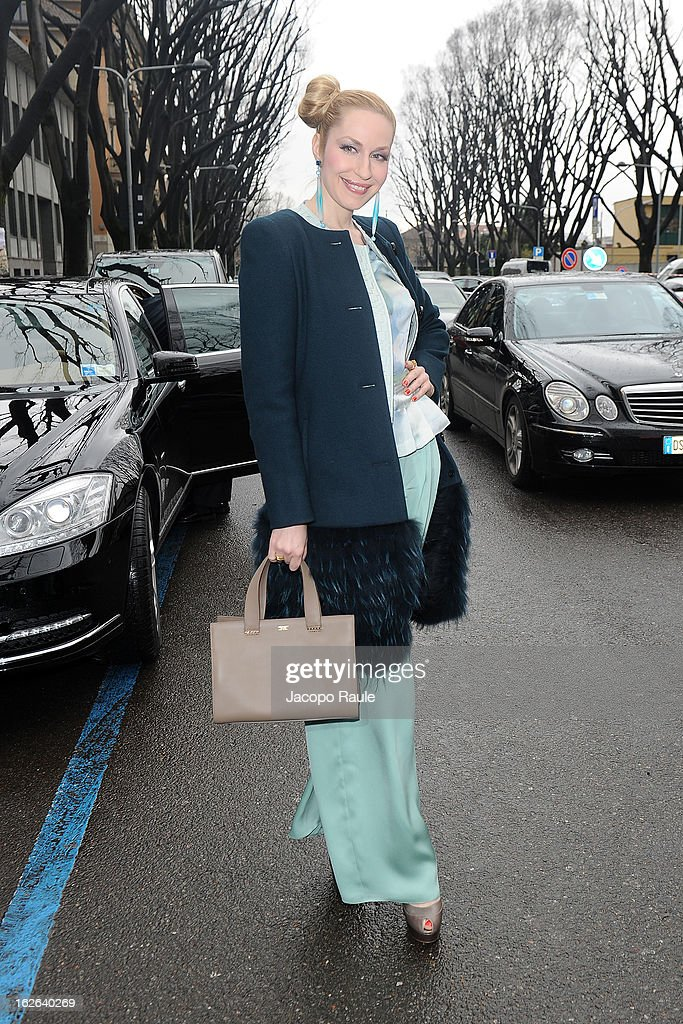 Elna Margret zu Bentheim arrives at the Giorgio Armani fashion show as part of Milan Fashion Week Womenswear Fall/Winter 2013/14 on February 25, 2014 in Milan, Italy.