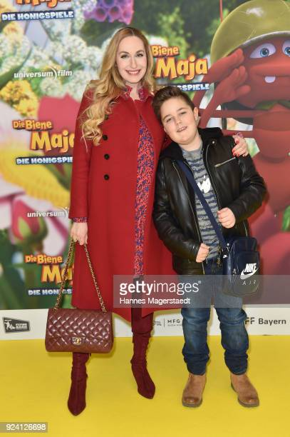 ElnaMargret Prinzessin zu Bentheim und Steinfurt and her son Jonathan during the premiere of 'Biene Maja Die Honigspiele' at Mathaeser Filmpalast on...