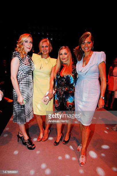 Elna-Margret zu Bentheim, Magdalena Brzeska, Regina Halmich and Maren Gilzer attend the Unrath & Strano show at the Mercedes-Benz Fashion Week...