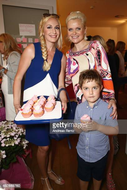 ElnaMargret zu Bentheim with Jonathan and Barbara Sturm attend the reception 'Baby shower for Barbara Sturm' on July 29 2014 in Duesseldorf Germany