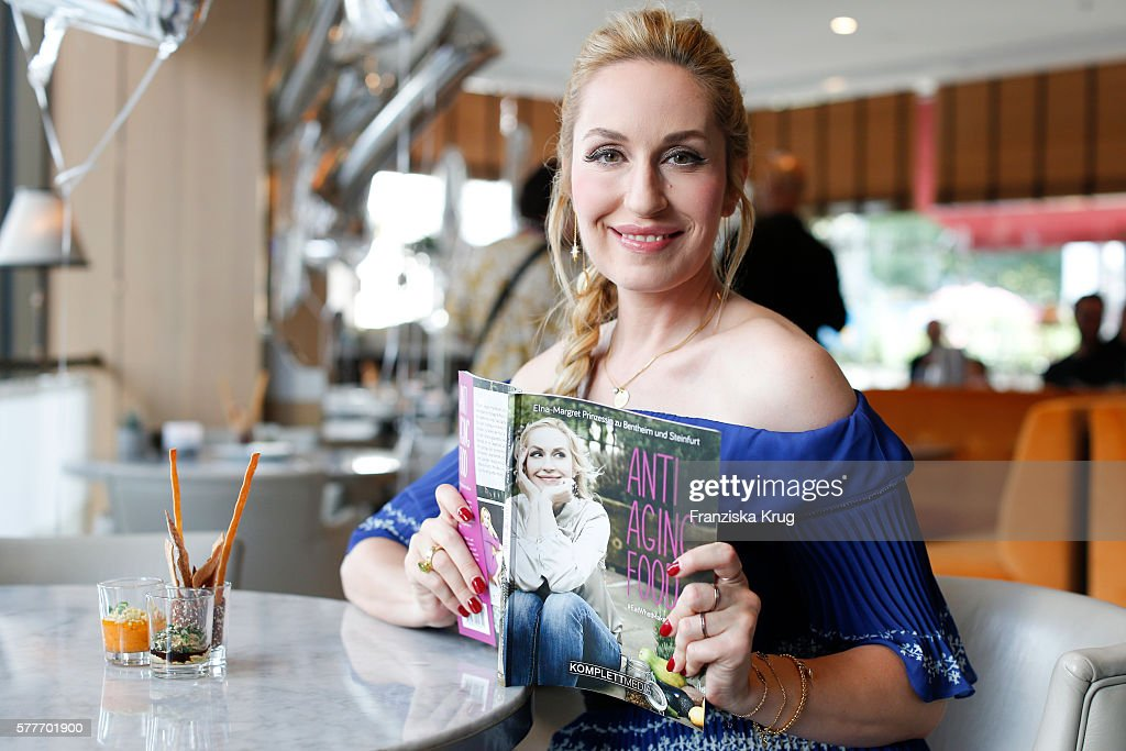 Elna-Margret zu Bentheim-Steinfurt poses during the presentation of her book 'Eat What Makes You Glow - Anti Aging Food' on July 19, 2016 in Berlin, Germany.