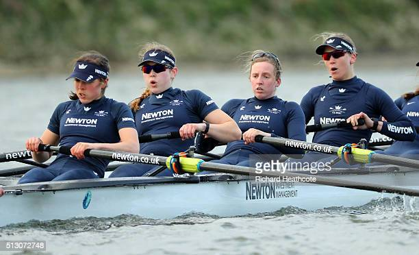 Elo Luik Anastasia Chitty Maddy Badcott Lauren Kedar of OUWBC in action during The 2016 Cancer Research UK Boat Race fixture between Oxford...
