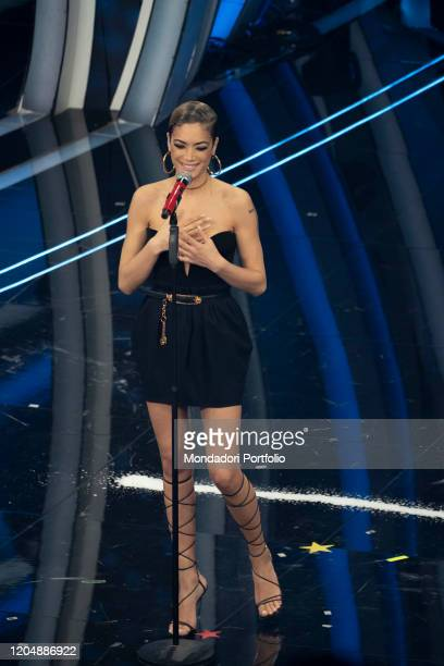 Elodie at the fourth evening of the 70th Sanremo Music Festival on February 07 2020 in Sanremo Italy