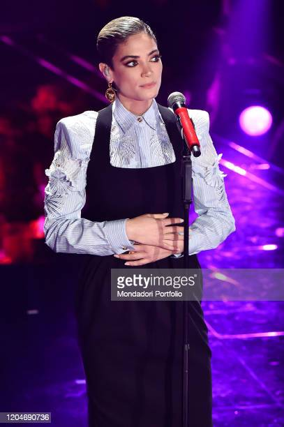 Elodie at the third evening of the 70th Sanremo Music Festival on February 6th 2020 in Sanremo Italy