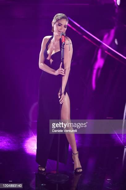 Elodie attends the 70° Festival di Sanremo at Teatro Ariston on February 08, 2020 in Sanremo, Italy.