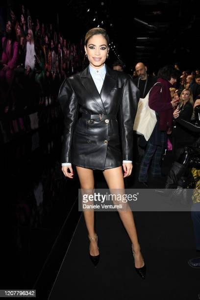Elodie attends the Versace fashion show on February 21 2020 in Milan Italy