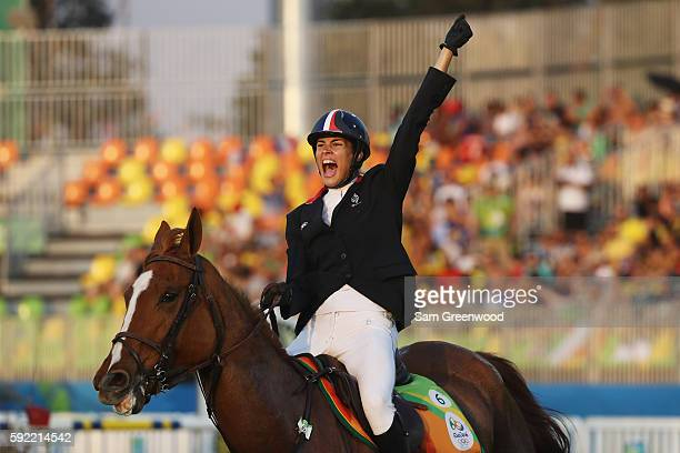 Elodie Clouvel of France competes during the Women's Riding Modern Pentathlon on Day 14 of the Rio 2016 Olympic Games at the Deodoro Stadium on...