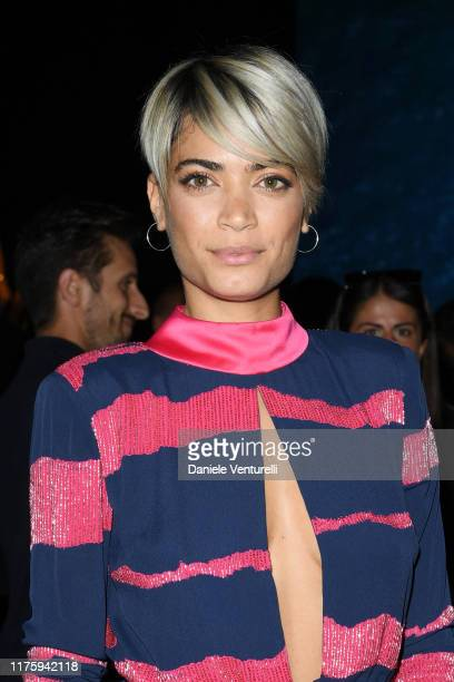Elodie Di Patrizi attends the Elisabetta Franchi fashion show during the Milan Fashion Week Spring/Summer 2020 on September 20 2019 in Milan Italy
