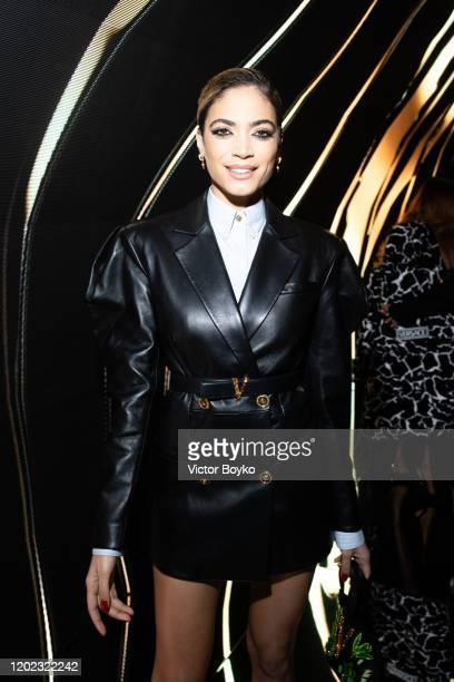 Elodie di Patrizi attends the Versace fashion show on February 21 2020 in Milan Italy