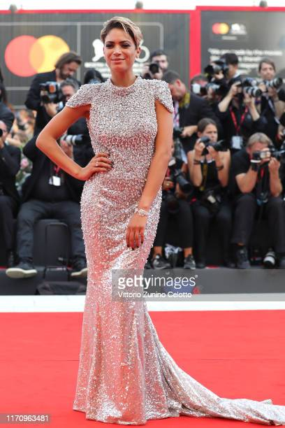 Elodie Di Patrizi walks the red carpet ahead of the Marriage Story screening during the 76th Venice Film Festival at Sala Grande on August 29 2019 in...