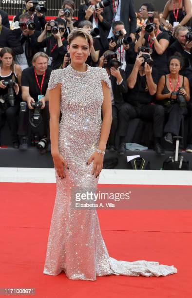 Elodie Di Patrizi walks the red carpet ahead of the Marriage Story screening during during the 76th Venice Film Festival at Sala Grande on August 29...