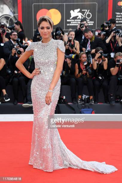 Elodie Di Patrizi walks the red carpet ahead of the The Perfect Candidate screening during during the 76th Venice Film Festival at Sala Grande on...