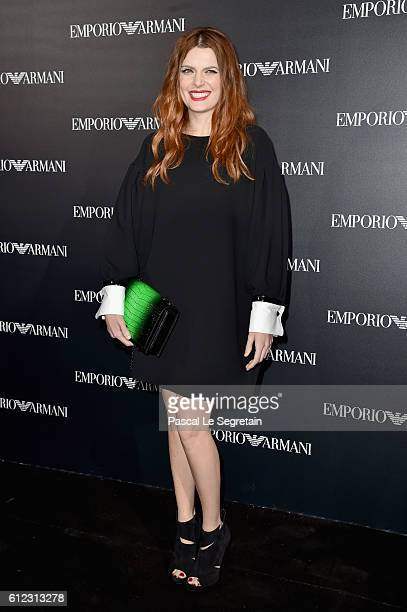 Elodie Frege attends the Emporio Armani show as part of the Paris Fashion Week Womenswear Spring/Summer 2017 on October 3 2016 in Paris France
