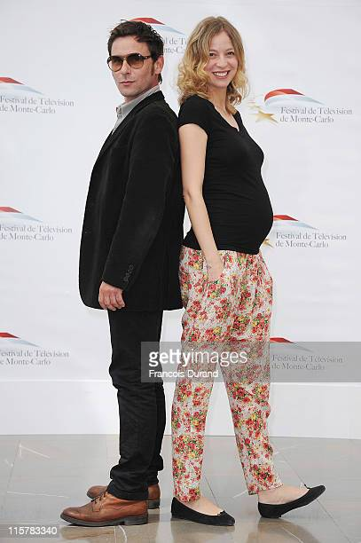 Elodie Frenck and Stevenin Sagamore pose during a photocall for the TV show 'T'es Pas Seule' during the 2011 Monte Carlo Television Festival held at...