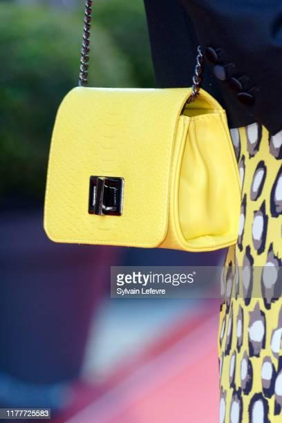 Elodie Frenck, bag detail, attends closing ceremony red carpet of 30th Dinard Film Festival on September 28, 2019 in Dinard, France.