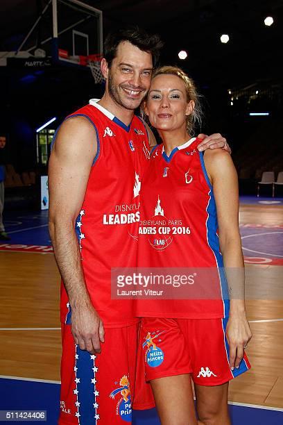 Elodie Gossuin and her husband Bertrand Lacherie attend Charity Basket Ball Match benefit association 'les Petits Princes' at Disneyland Paris on...