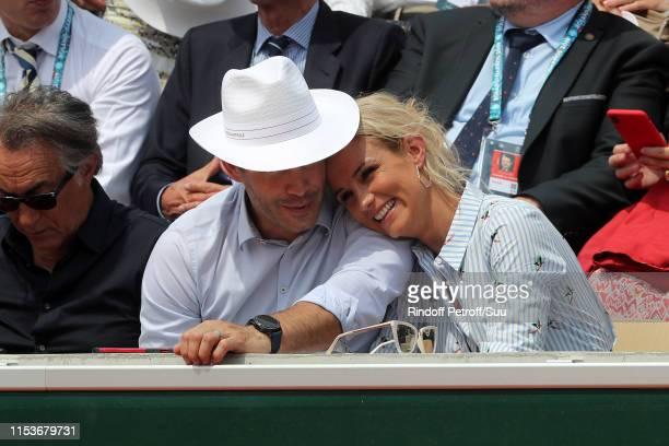 Elodie Gossuin and her husband Bertrand Lacherie attend the 2019 French Tennis Open Day Ten at Roland Garros on June 04 2019 in Paris France