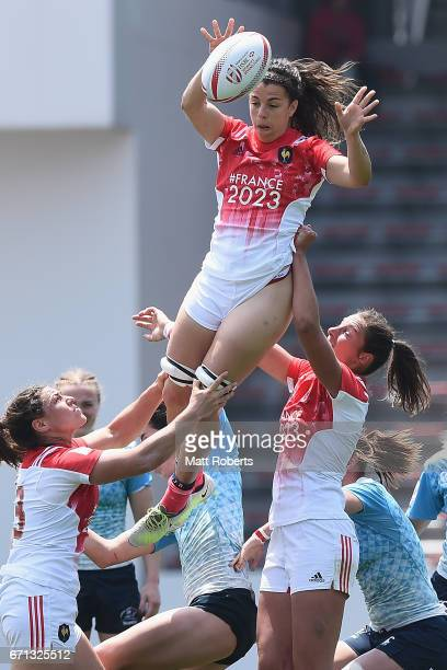 Elodie Guiglion of France wins the lineout during the HSBC World Rugby Women's Sevens Series 2016/17 Kitakyushu pool match between Russia and France...