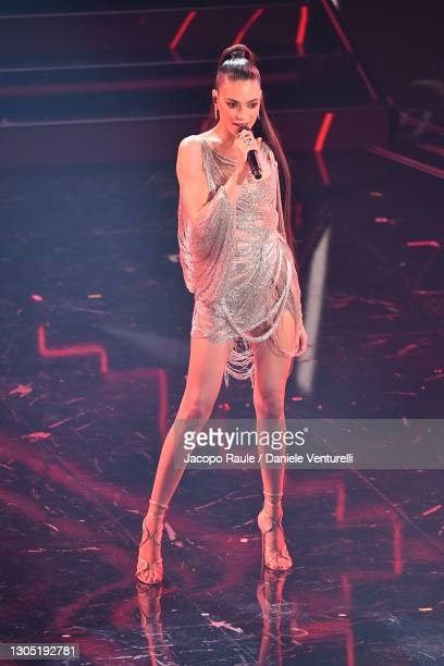Elodie is seen on stage at the 71th Sanremo Music Festival 2021 at Teatro Ariston on March 03, 2021 in Sanremo, Italy.