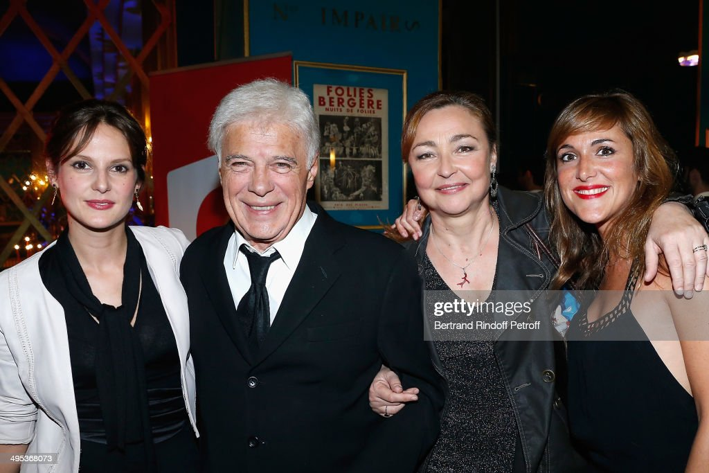Elodie Navarre, Guy Bedos, Catherine Frot and Victoria Bedos attend the 26th Molieres Awards Ceremony at Folies Bergere on June 2, 2014 in Paris, France.
